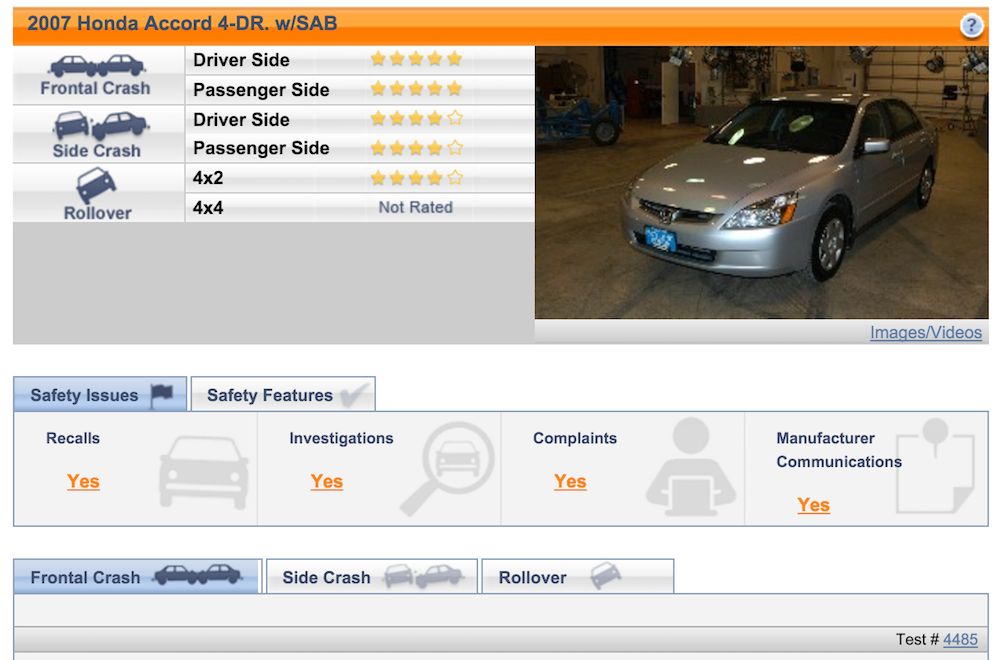 safer car site screenshot