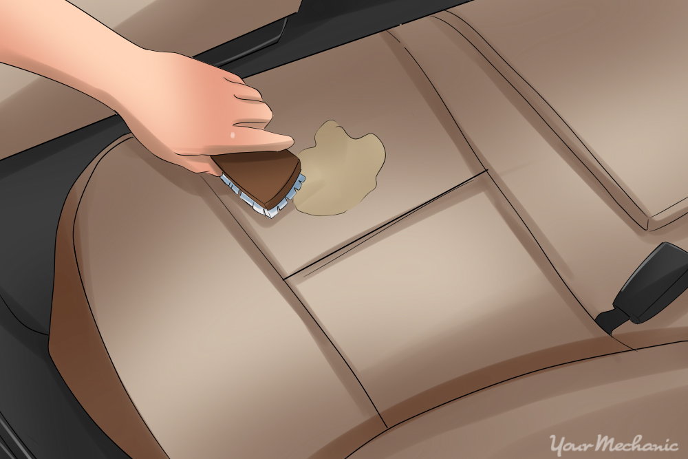 hand scrubbing off stains in upholstery