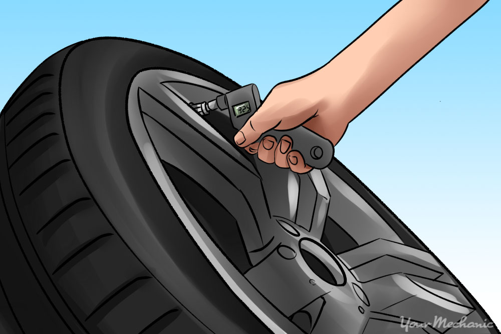 tire being check for air