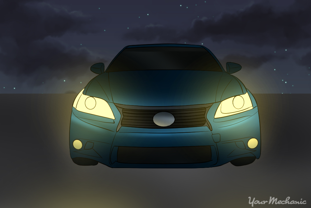 front of vehicle with fog lights on