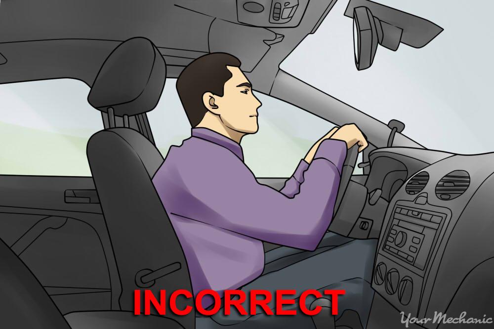 man adjusted too close to steering wheel