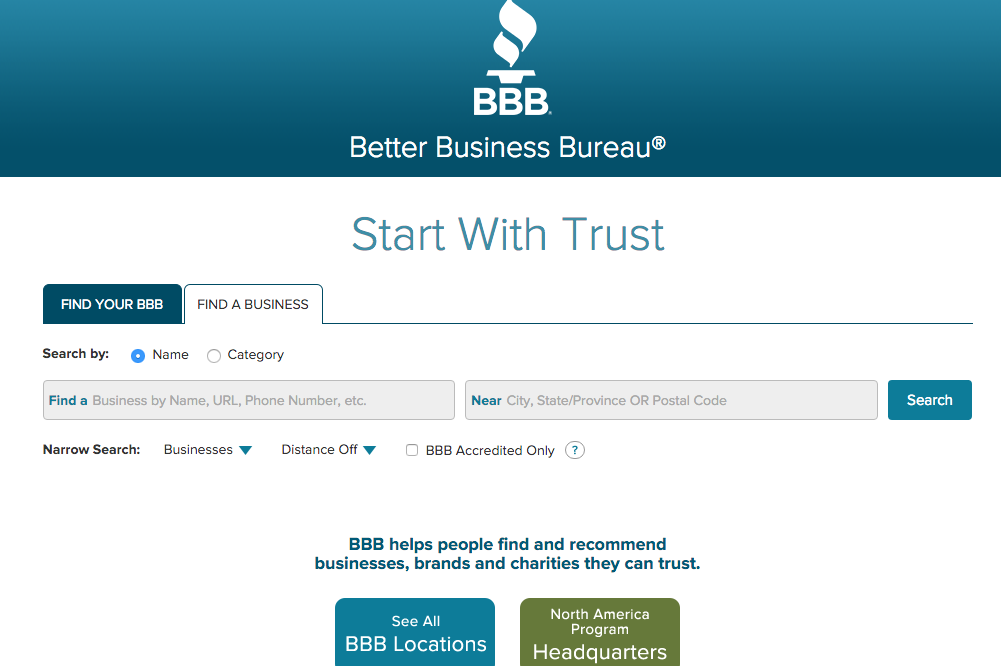 better business bureau website screenshot