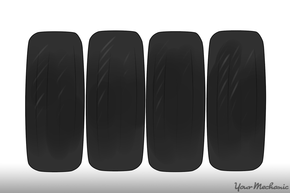 car tires in a row