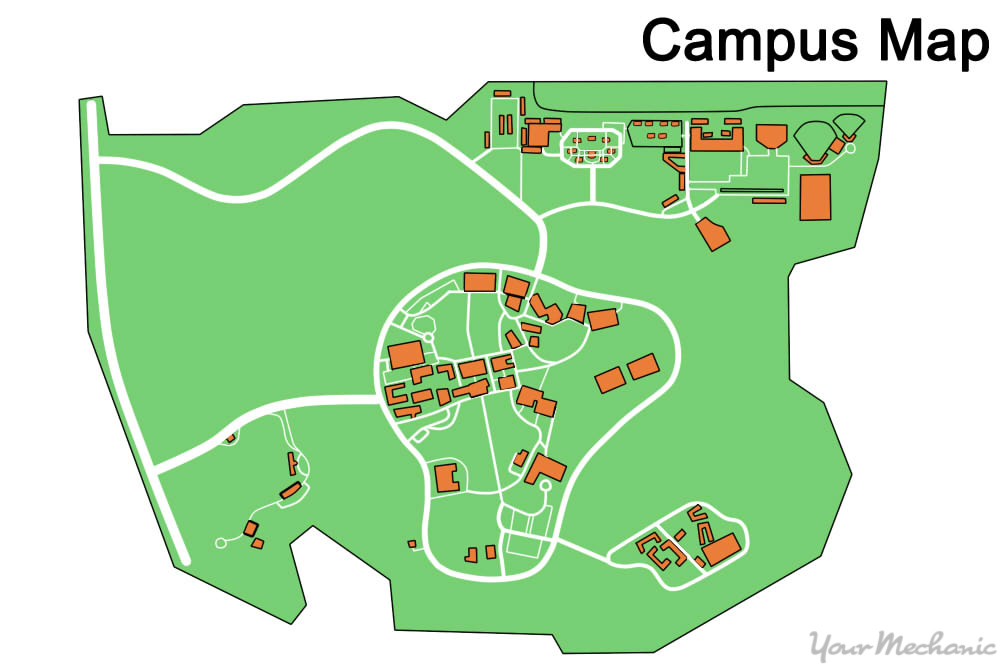 example of a campus map with different areas highlighted