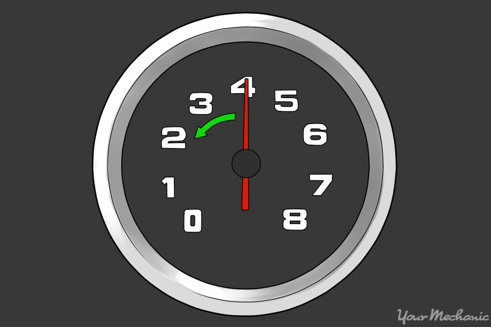 tachometer showing rpm dropping