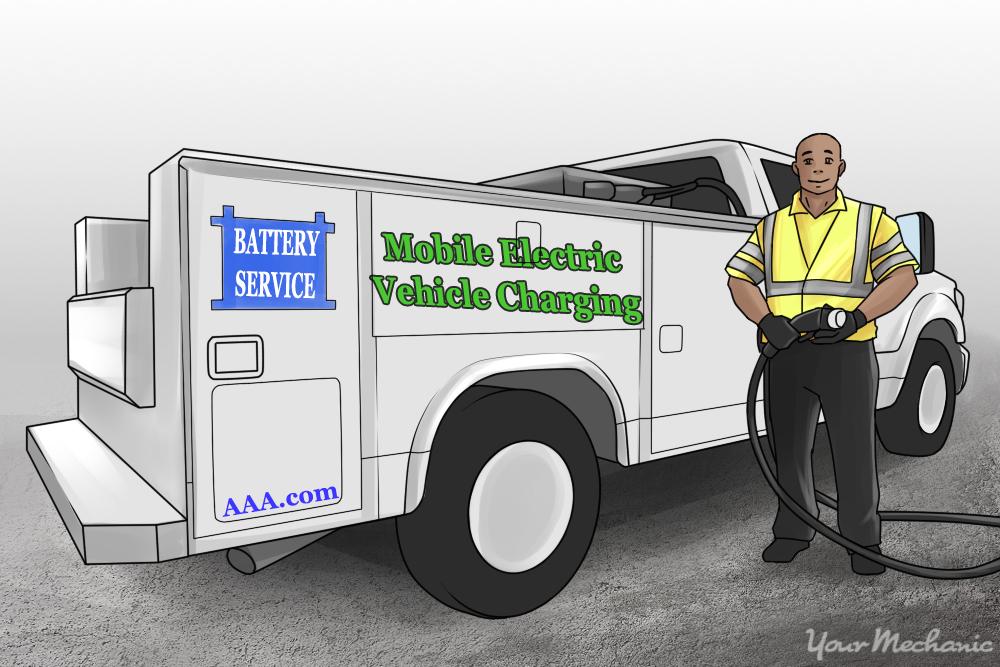 AAA worker by service truck