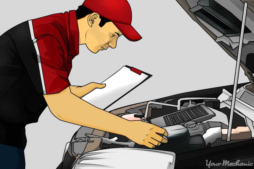 mechanic performing a pre-purchase inspection