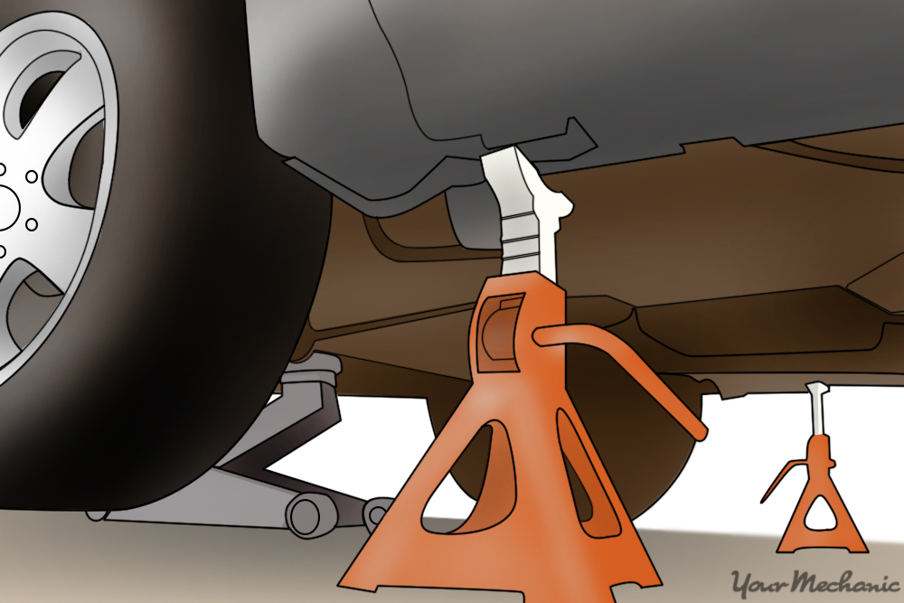 showing a jack stand placed under the lift points of a car