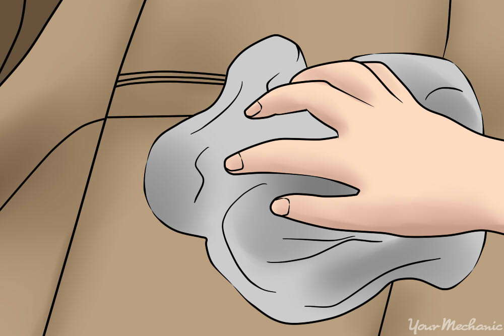 wiping cloth on back seat