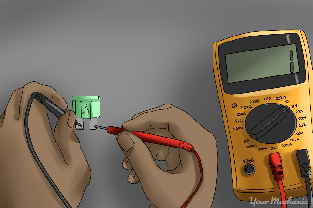 6 How to Repair a Car Horn checking a fuse with a digital multimeter. Make sure to show both ends touching the terminals of the fuse and include the multimeter on the side how to fix a car horn yourmechanic advice