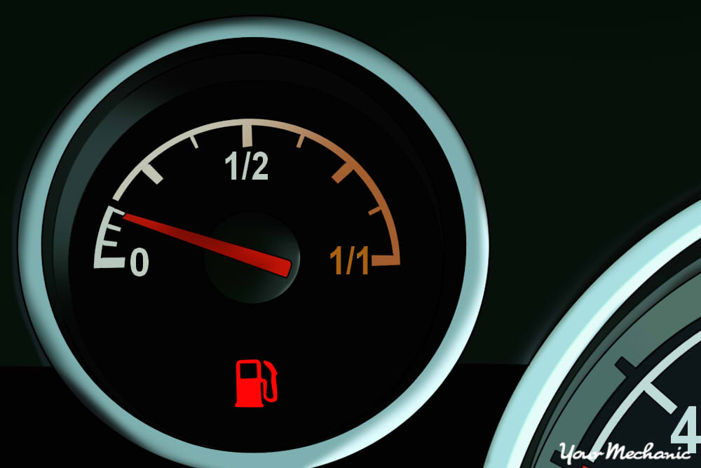 fuel gauge with indicator lights on dash