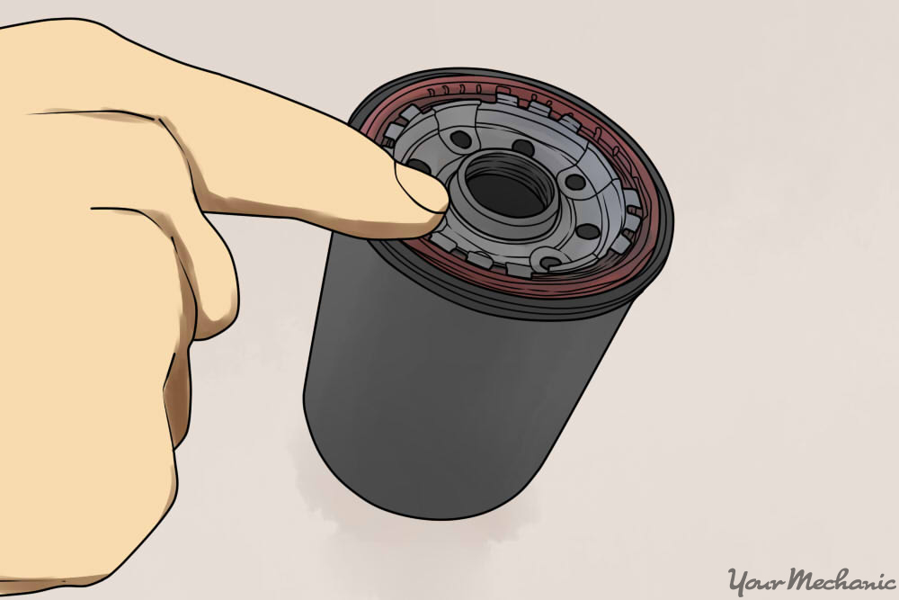 person putting oil on oil filter o ring