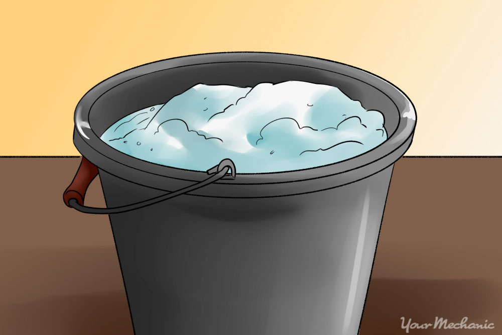 soapy water in a bucket