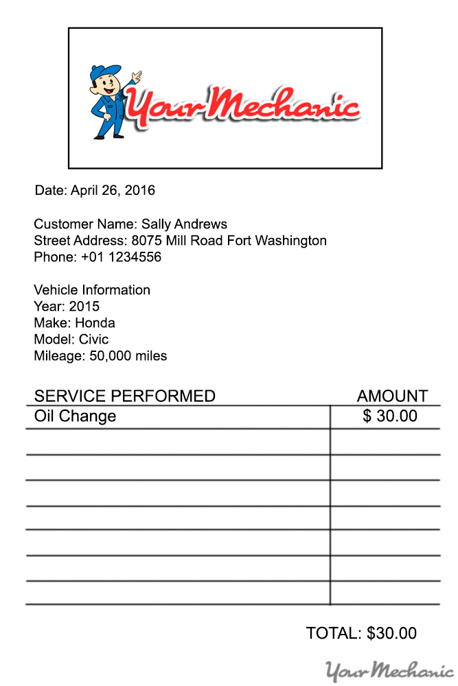 your mechanic receipt