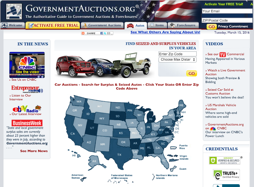 government auction site screenshot