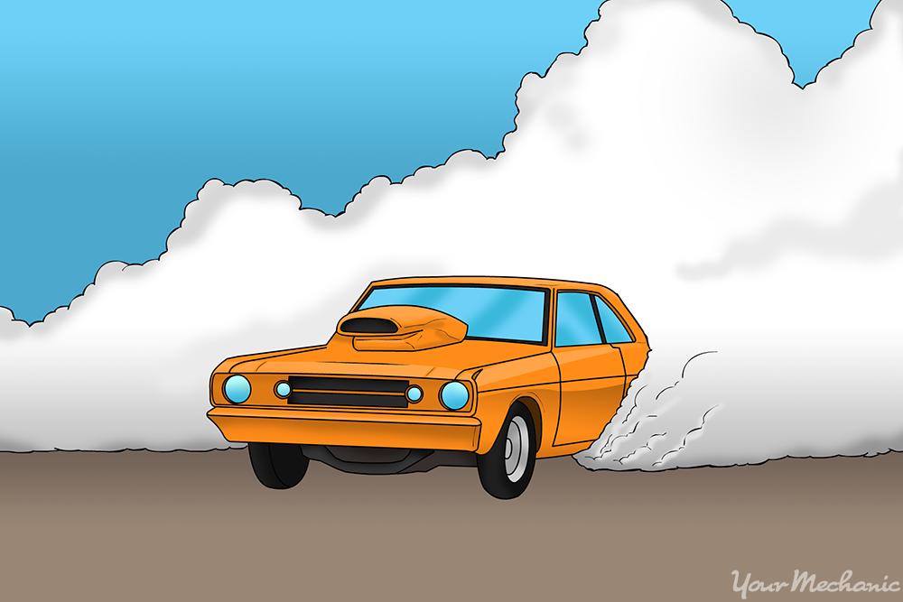 drag racing doing a burnout move