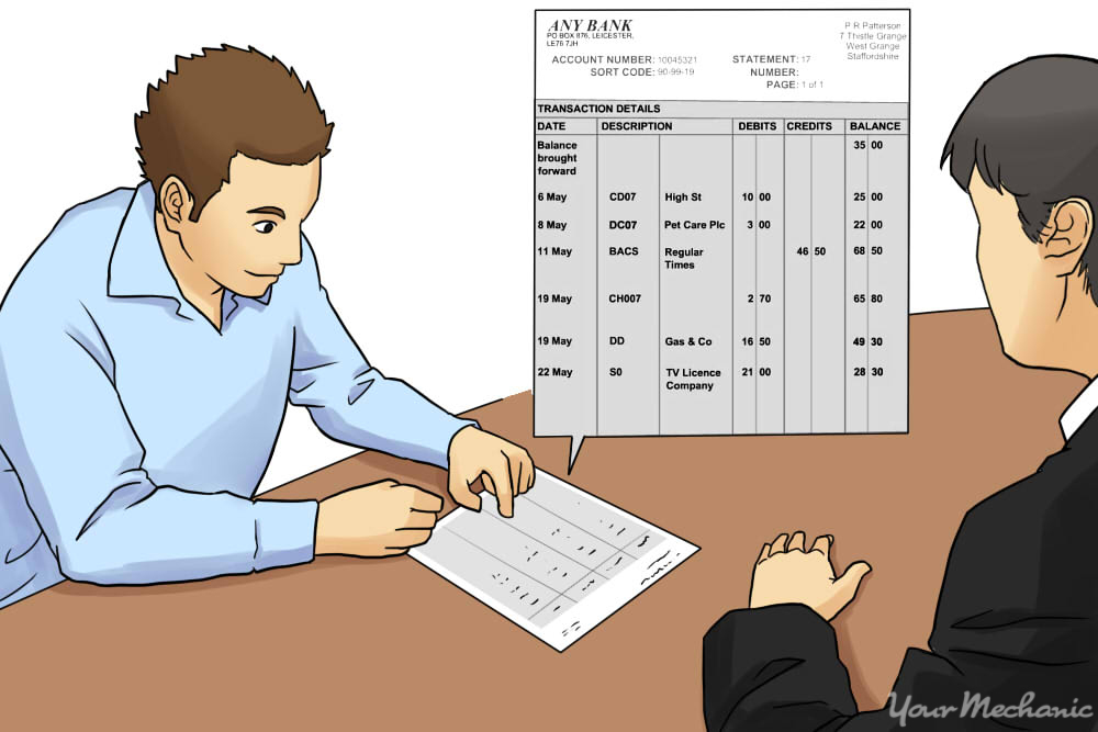 person filling out bank statement for dealer