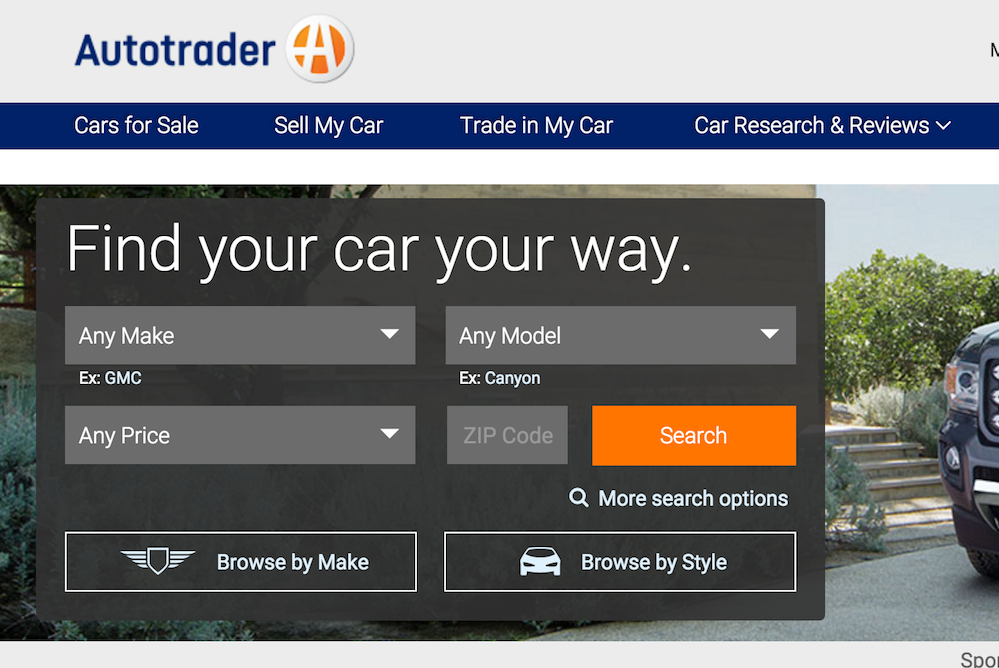 autotrader website screenshot