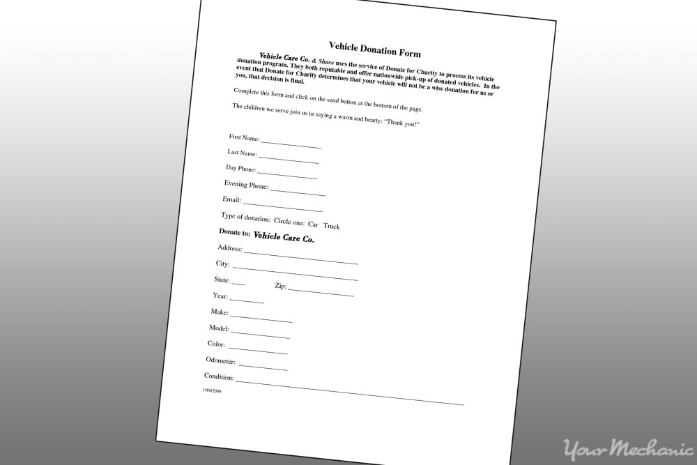 vehicle donation form