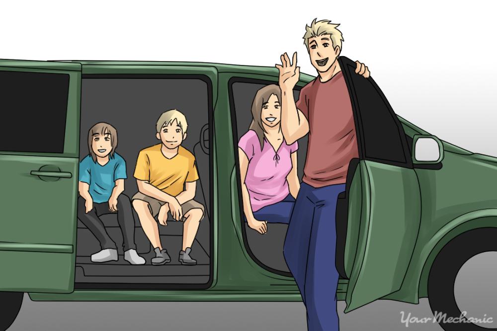 family next to car