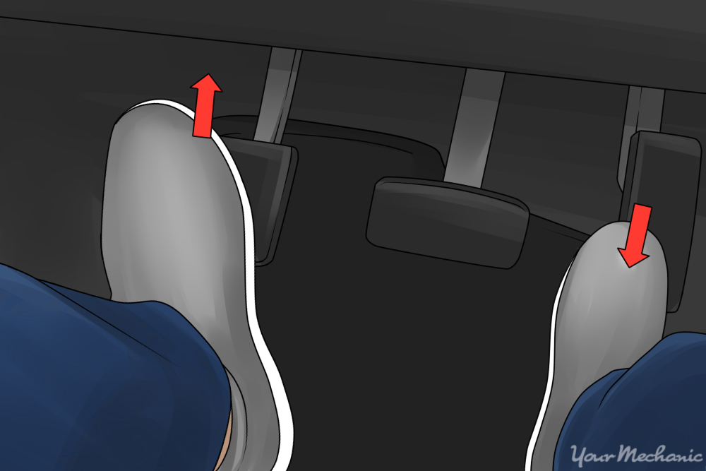 feet on pedals with arrow showing pressure on gas pedal