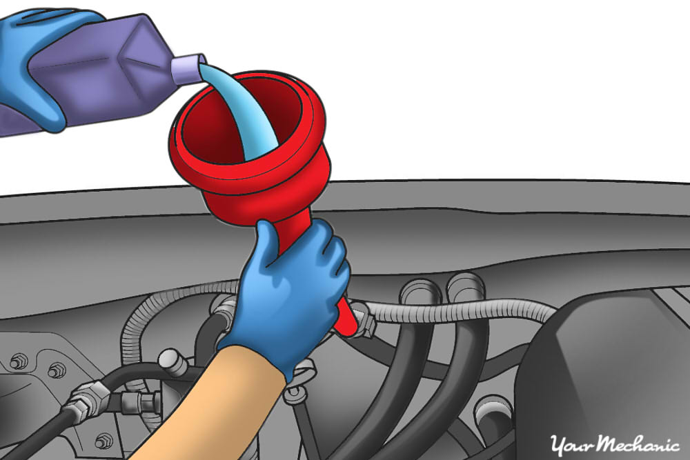 How To Check Add Fluid To An Automatic Transmission A Funnel In The Tube Going To The Transmission And Fluid Being Poured Into The Funnel Show Per