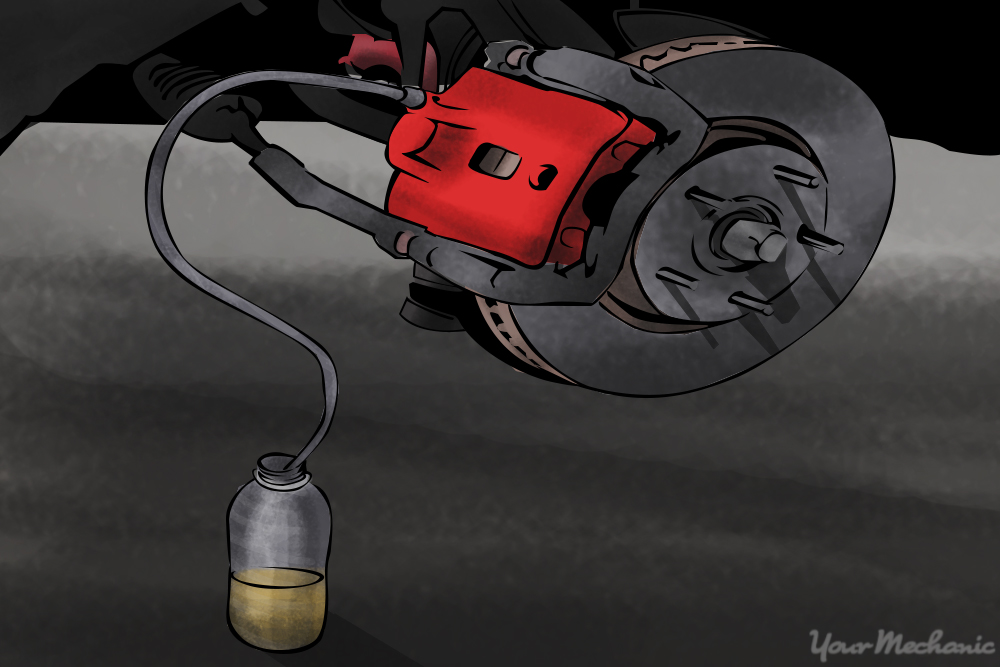 brake bleeding setup with plastic bottle