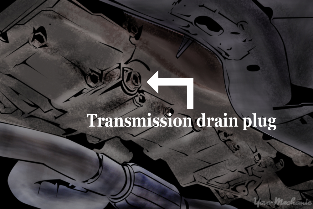 label indicating transmission drain plug
