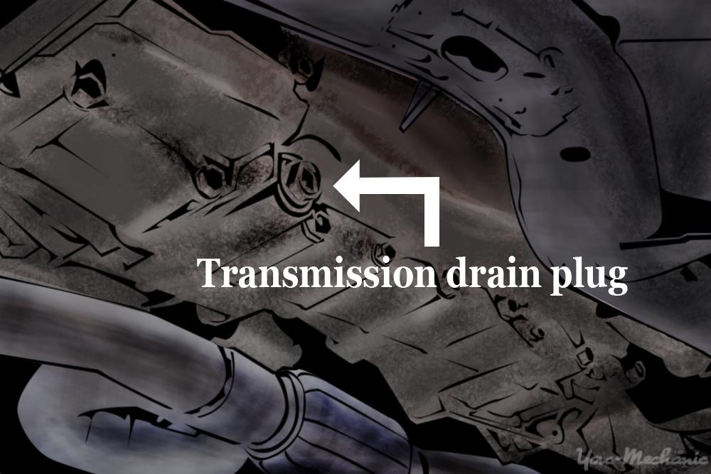 label indicating transmission drain plug