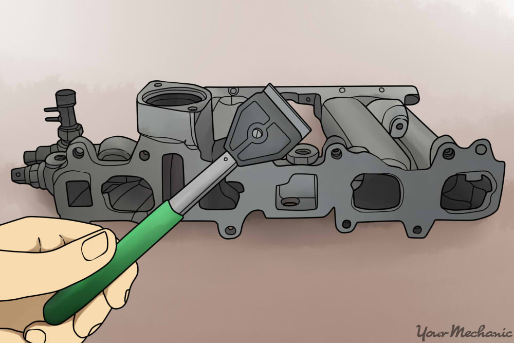 cleaning the gasket surfaces with a scraper