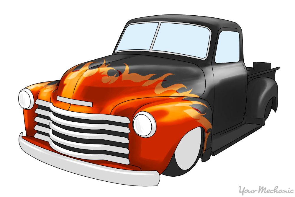chevy truck with flames