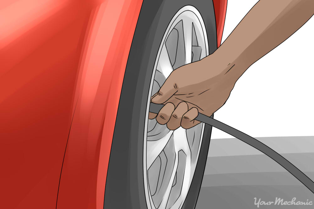 person inflating their tires
