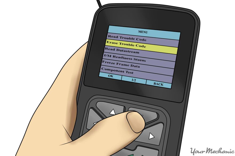 person using a scan tool to erase the trouble codes