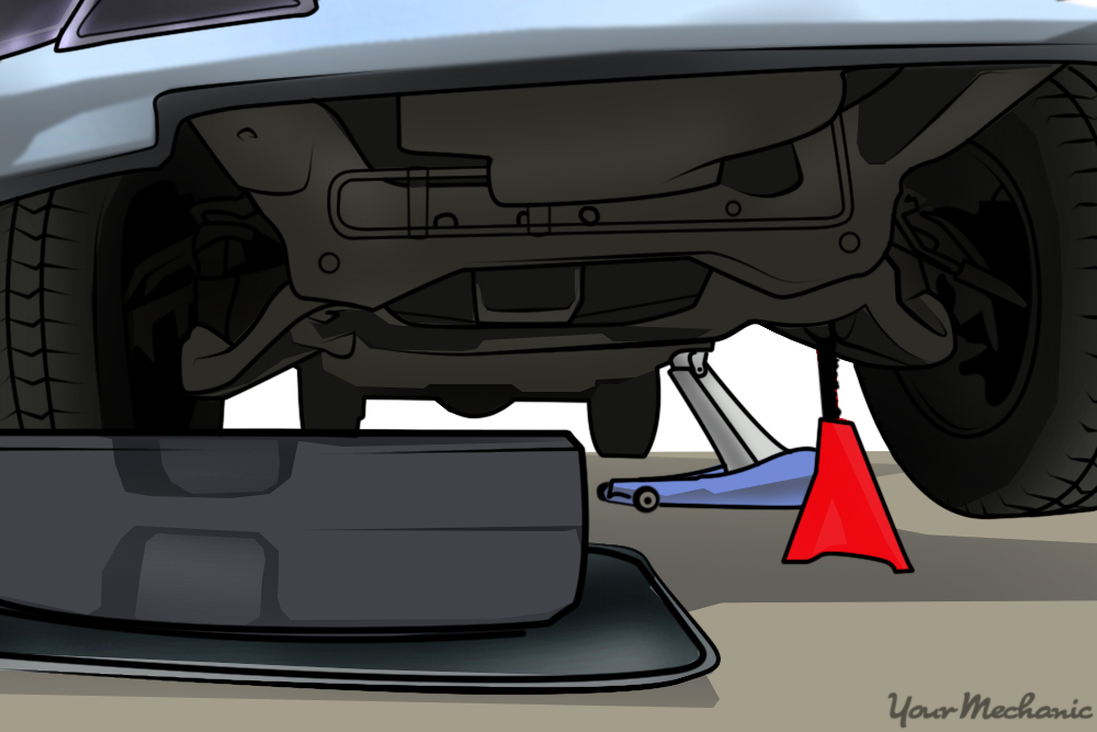 catchpan placed under car