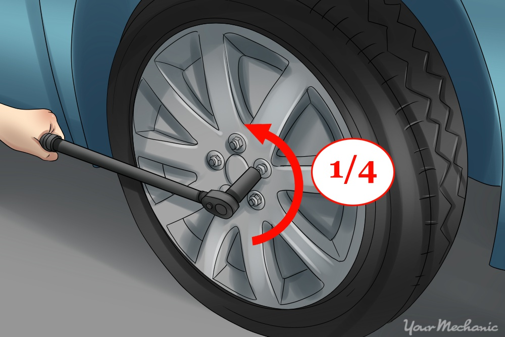 person using lug wrench on nuts