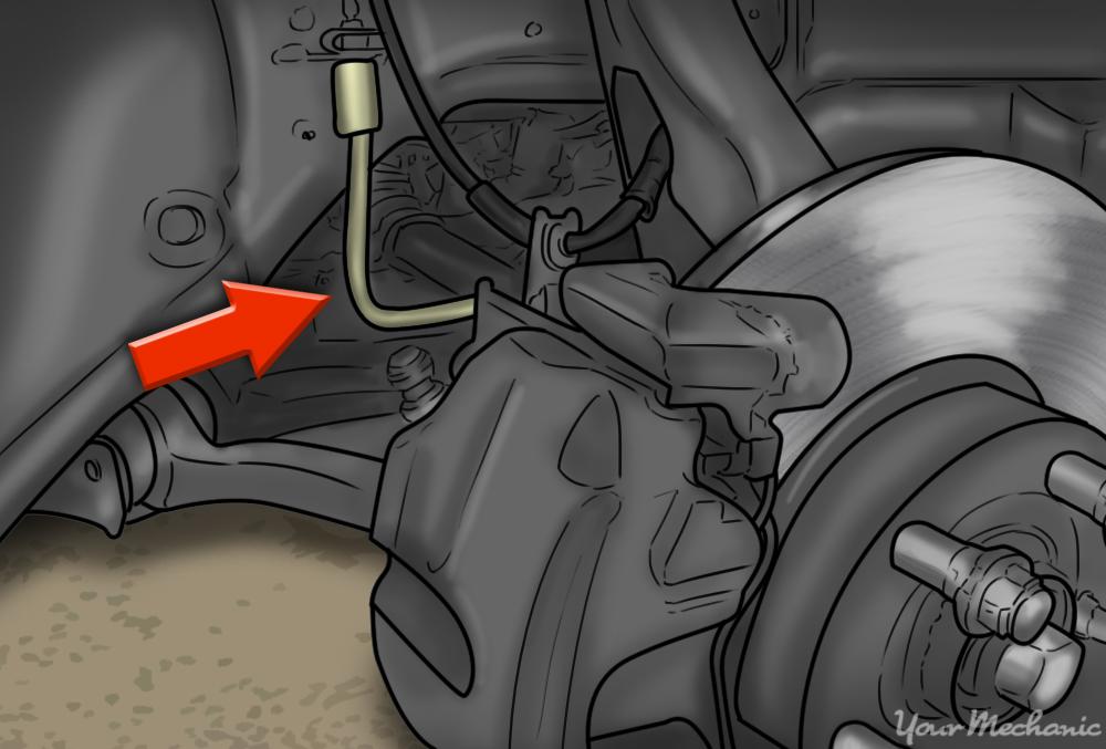 arrows indicating brake lines, looking for leaks