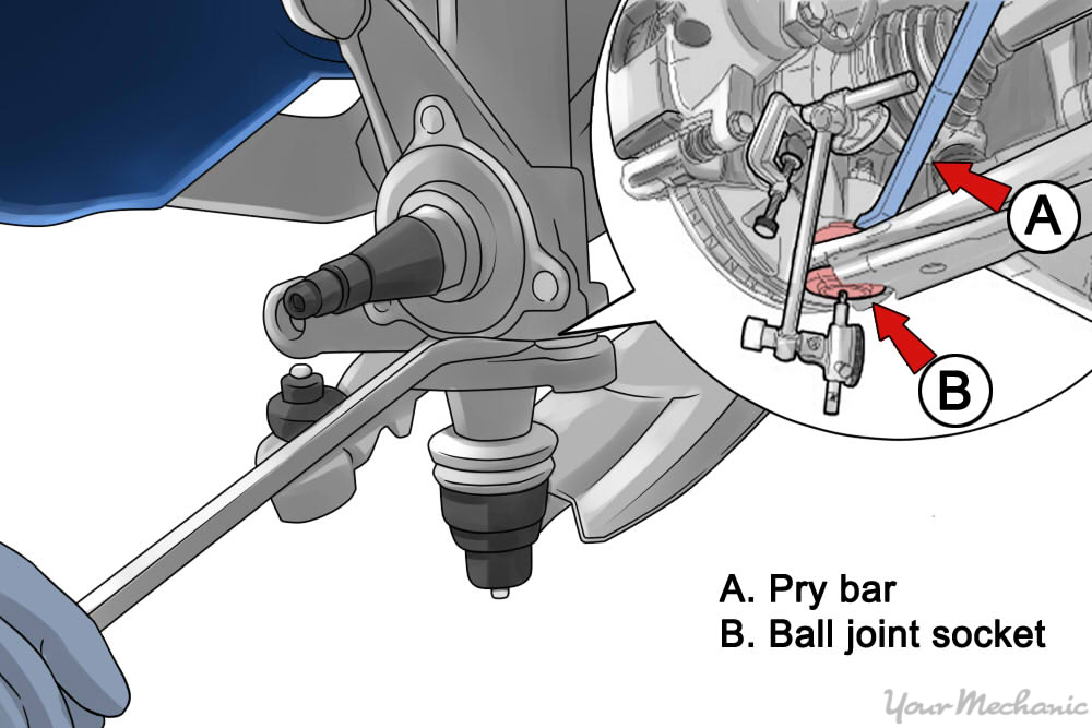 person using a pry bar between the ball joint and control arm