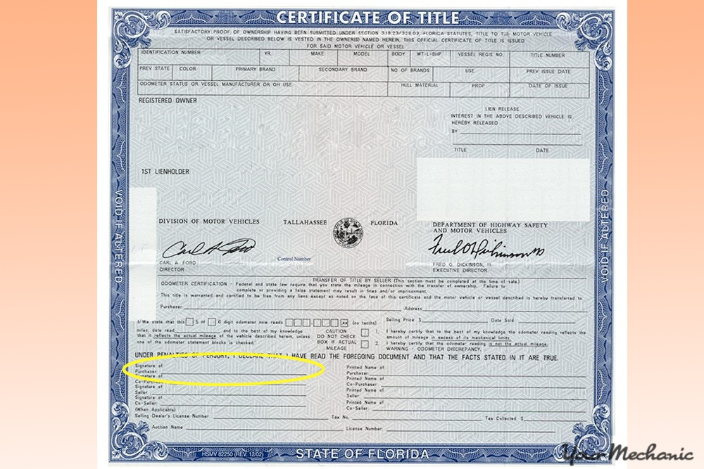 vehicle title clearly showing signature line