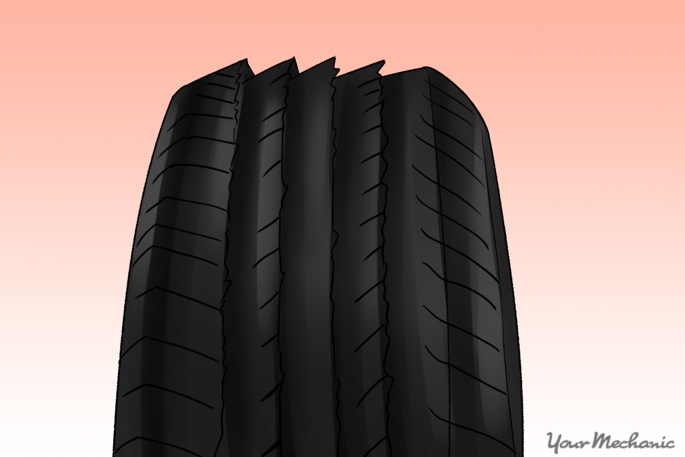 tire showing feather wear