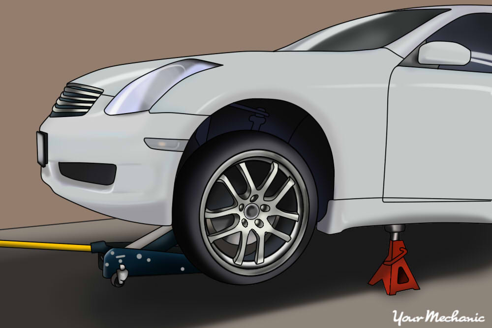 jack stands placed under vehicle