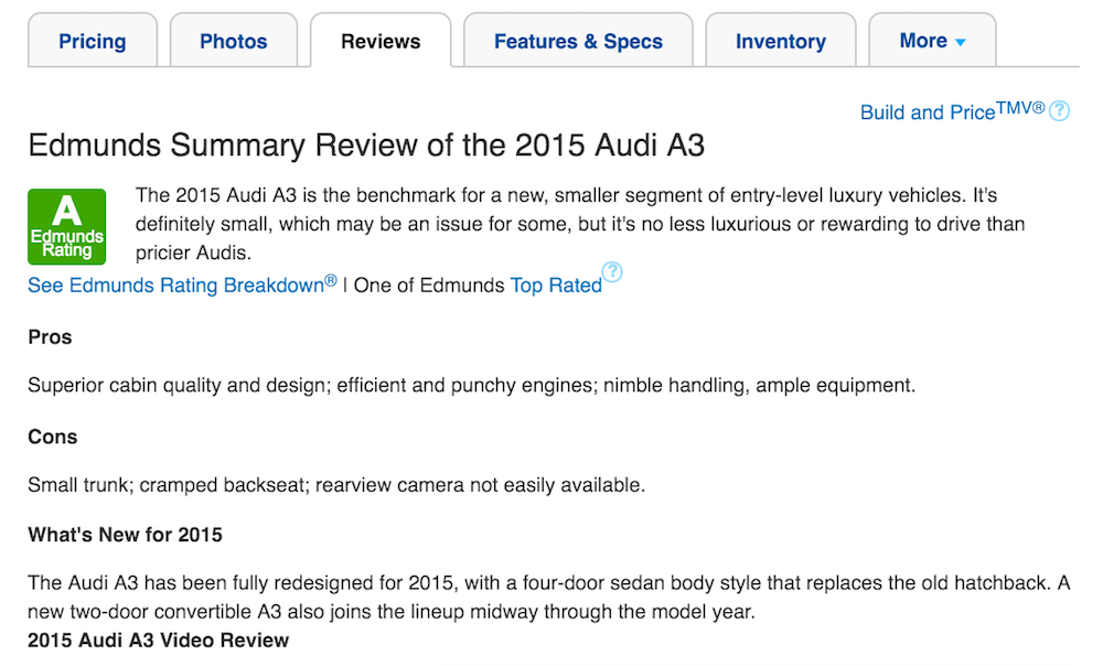 edmunds review of audi a3