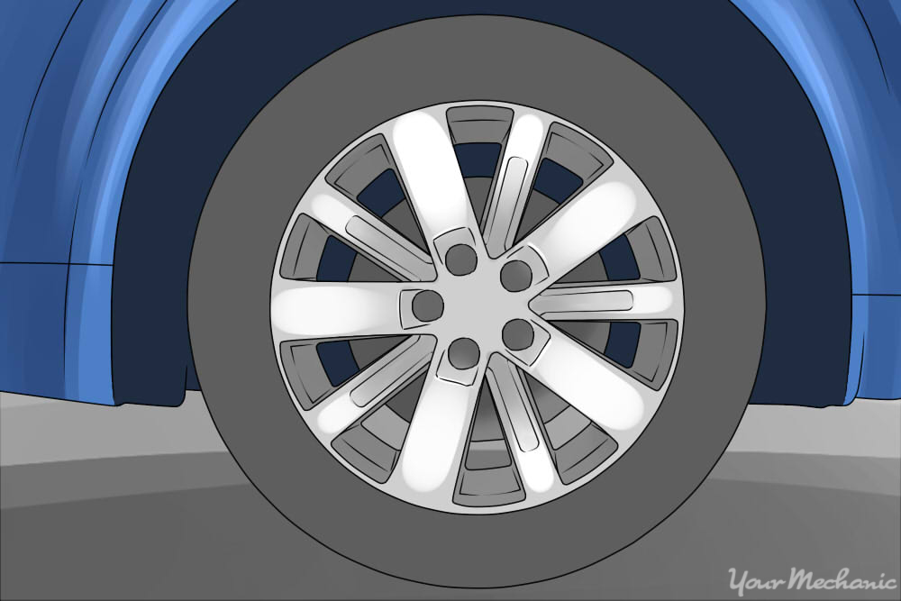 passenger tire mounted on rim