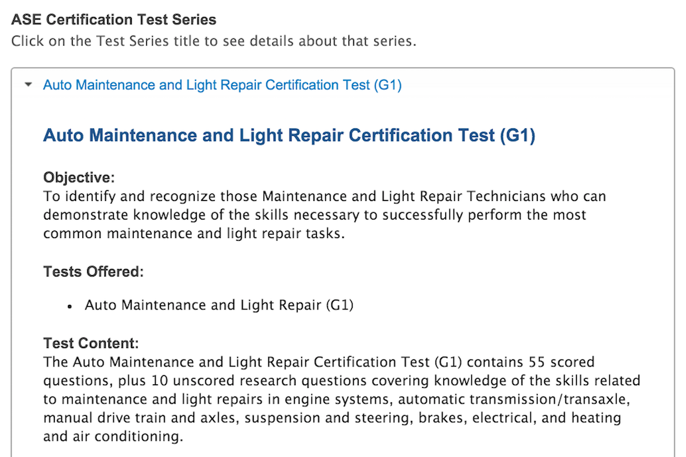 specific test series maintenance and light repair