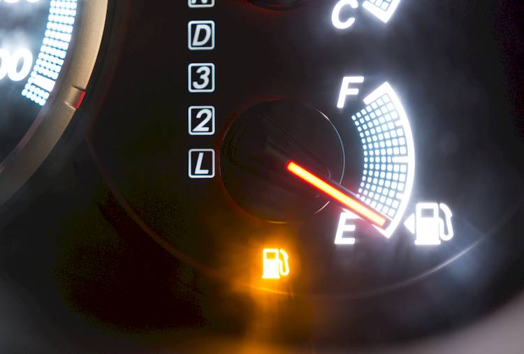 empty fuel light displayed on dash