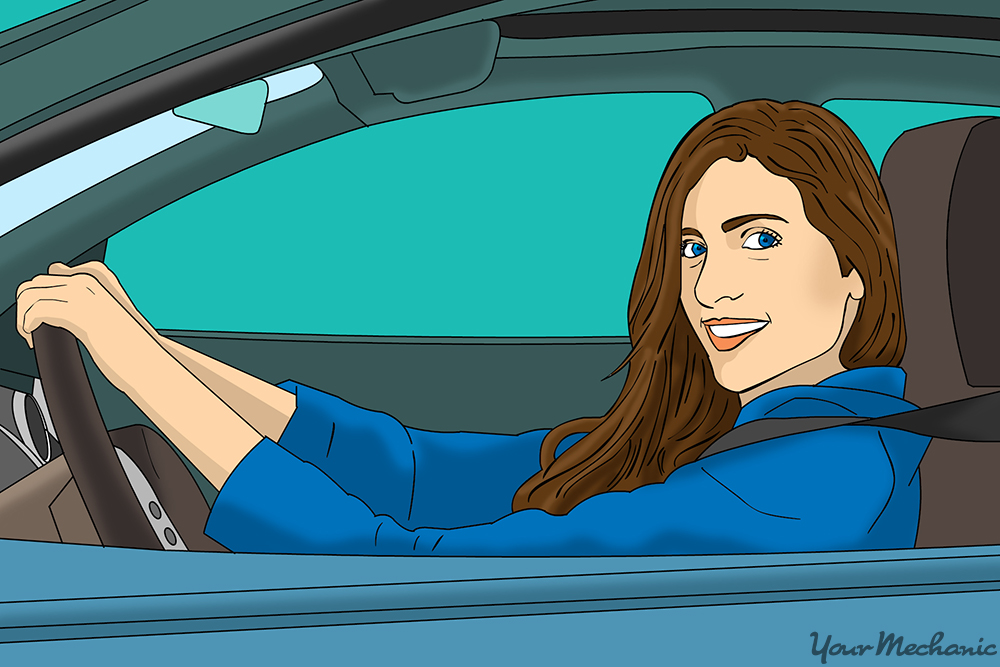woman in her drivers seat