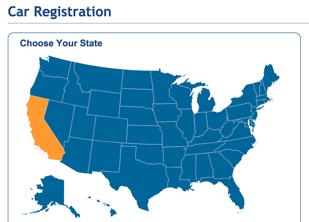 DMV registration state select