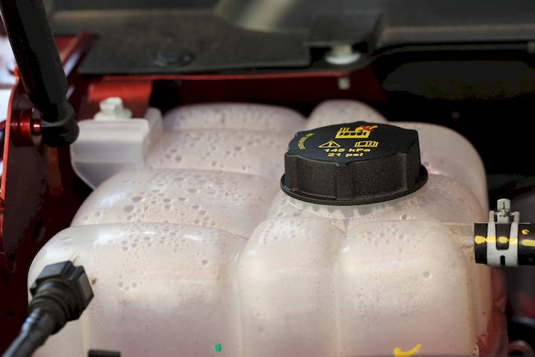 Picture of coolant tank inside car