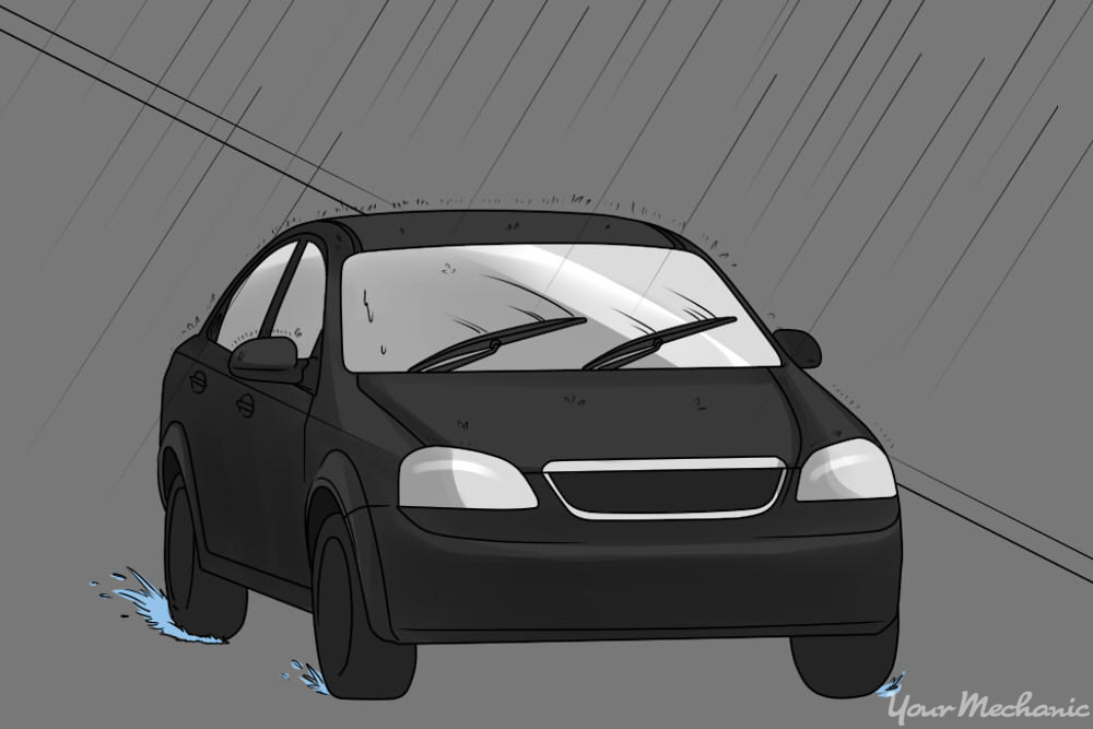 How to Fix Squeaky Windshield Wiper Blades - Car using windshield wipers in the rain