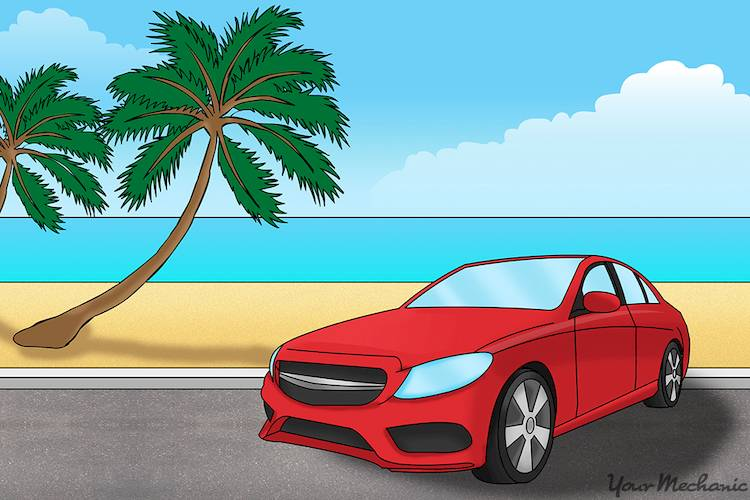 car parked by beach