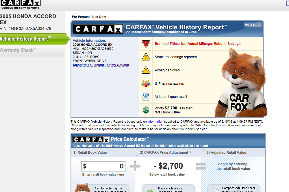 Carfax accident report